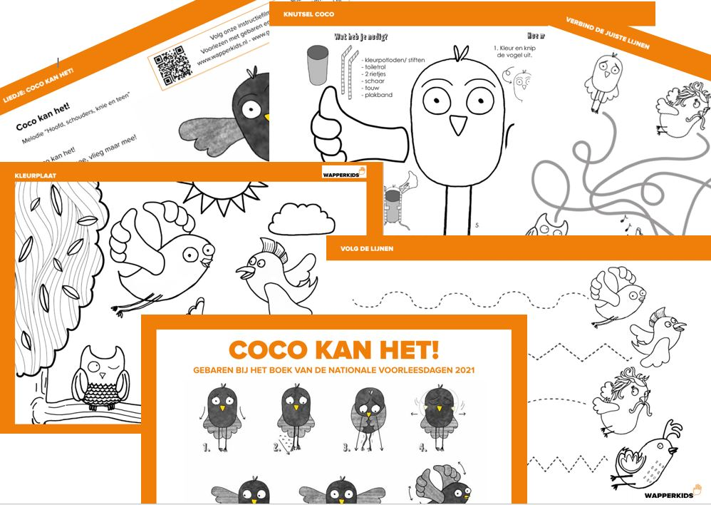 Werkbladen en liedjes met gebaren bij Coco
